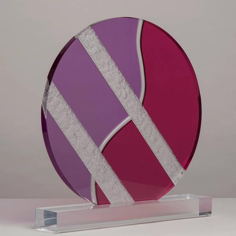 A large Lucite disc table sculpture attributed to Haziza, 1980s