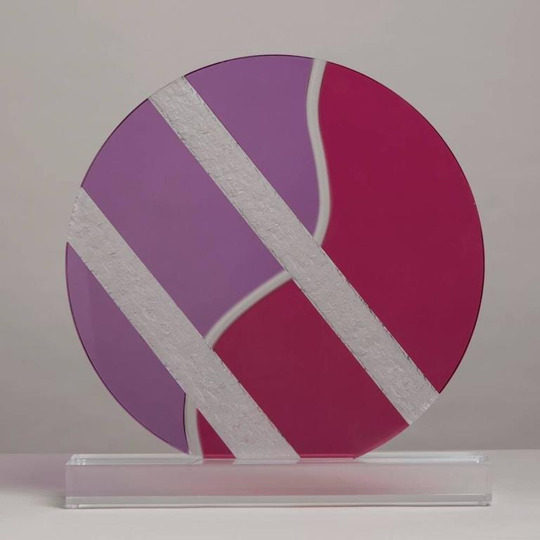 Late 20th Century Large Lucite Disc Table Sculpture, 1980s For Sale