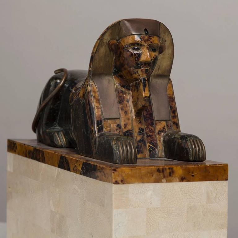 Maitland Smith Tessellated Stone Veneered Sphinx Sculpture, 1970s For Sale 1