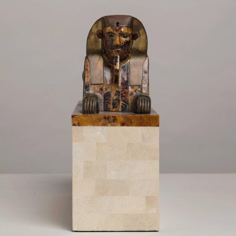 Maitland Smith Tessellated Stone Veneered Sphinx Sculpture, 1970s 3
