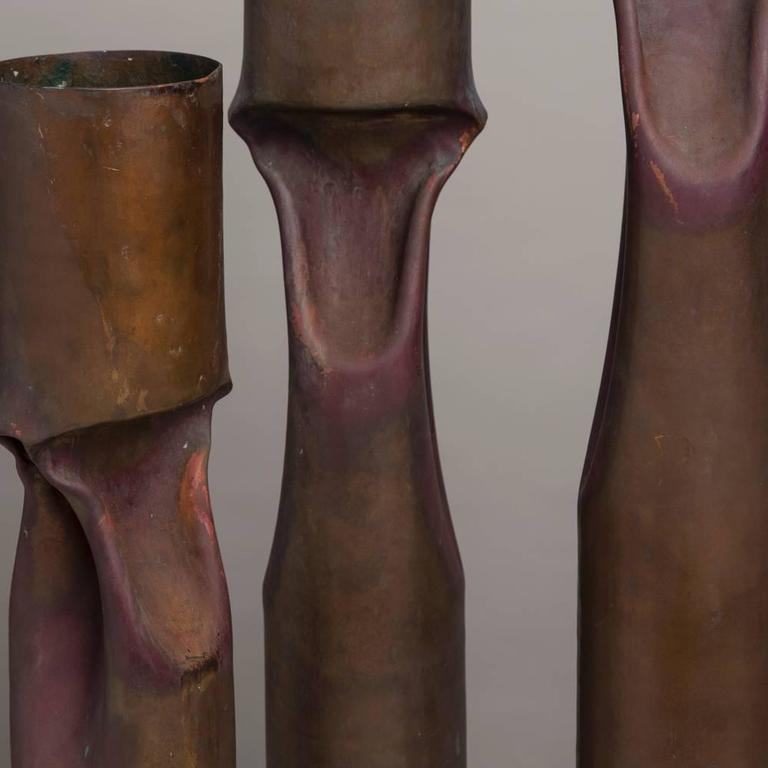 20th Century Set of Three Oversized Brutalist Copper Vases, Stamped For Sale