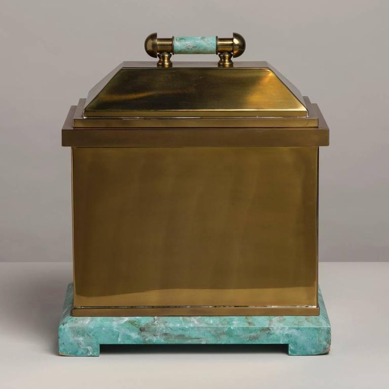 An oversized Lorin Marsh designed brass and simulated green stone box, 1970s