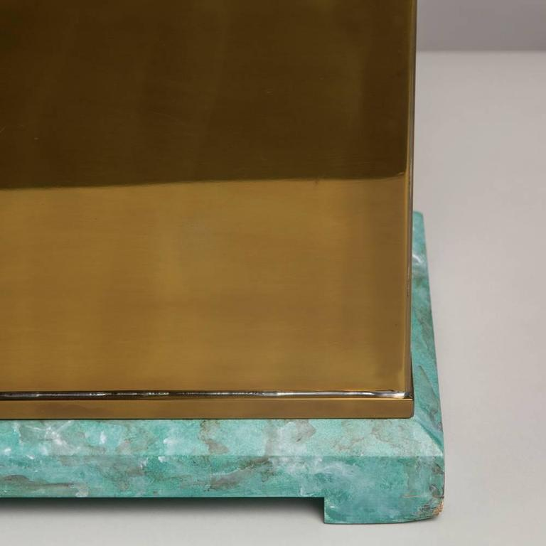 Oversized Lorin Marsh Brass and Simulated Green Stone Box In Excellent Condition For Sale In London, GB