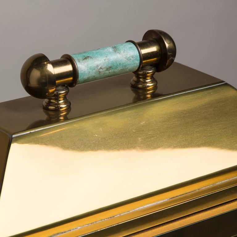 Oversized Lorin Marsh Brass and Simulated Green Stone Box For Sale 2
