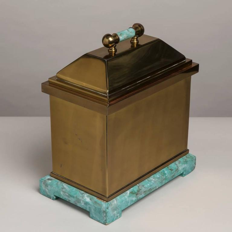 Oversized Lorin Marsh Brass and Simulated Green Stone Box For Sale 1