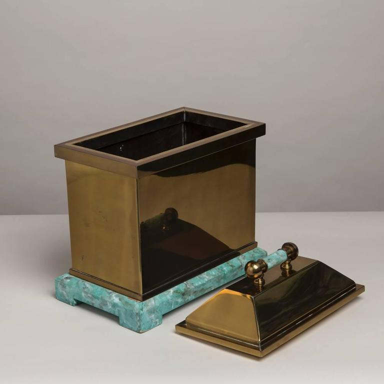 Late 20th Century Oversized Lorin Marsh Brass and Simulated Green Stone Box For Sale