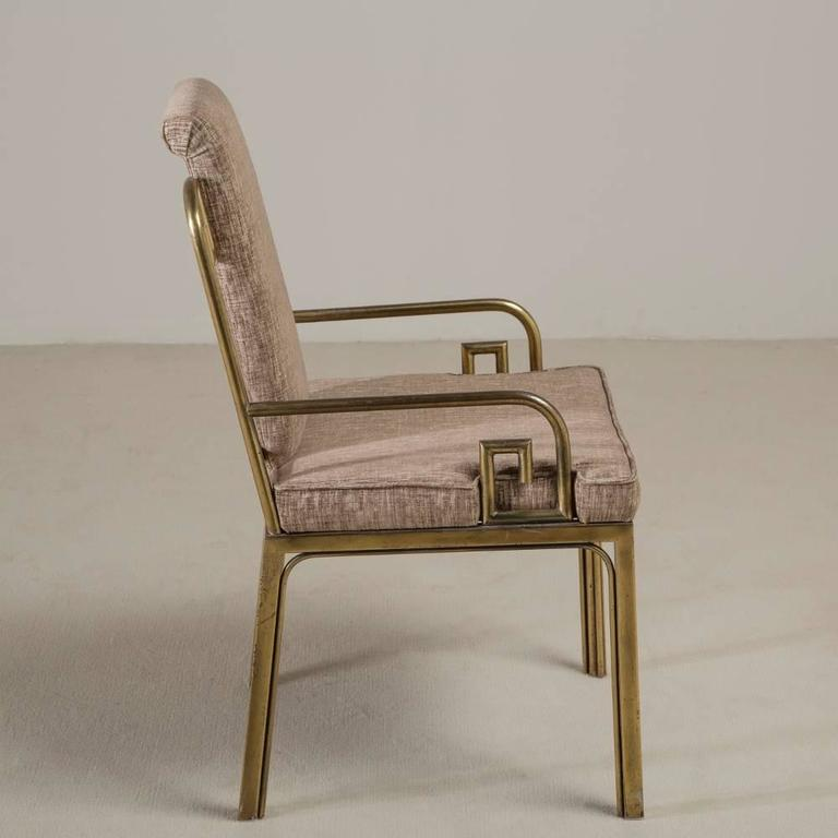 Set of Six Mastercraft Brass-Framed Dining Chairs, 1970s 4