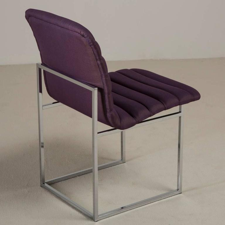 Mid-20th Century Set of Four Nickel-Framed Silk Dining Chairs, Late 1960s For Sale