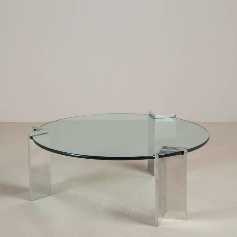 Steel and Glass Leon Rosen for Pace Coffee Table, 1970s 2