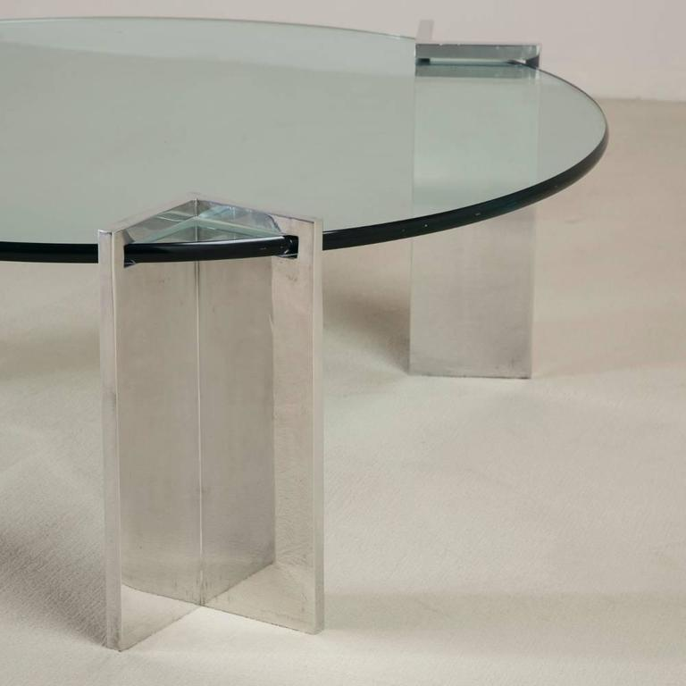 Steel and Glass Leon Rosen for Pace Coffee Table, 1970s 3