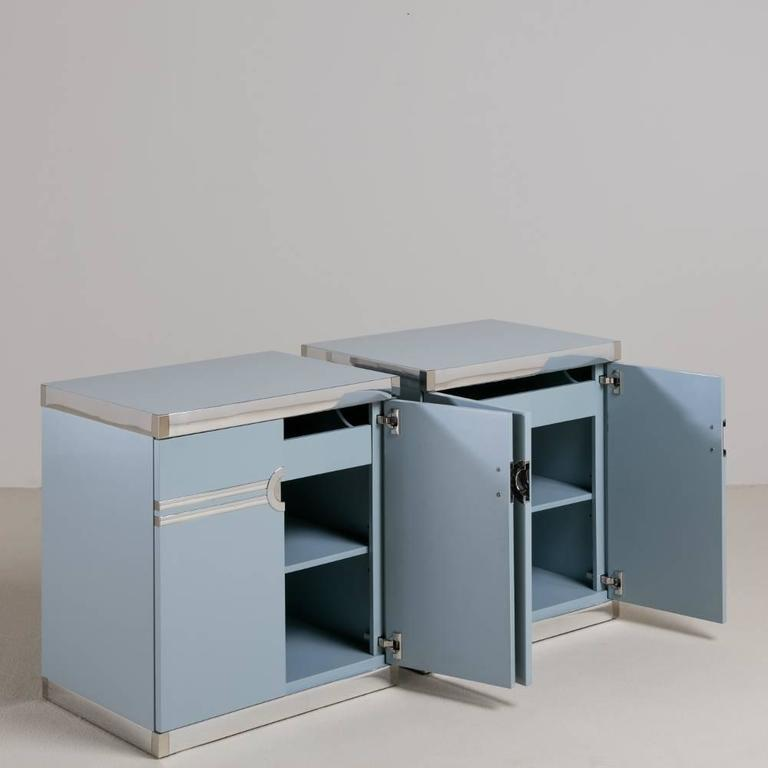 A pair of Pierre Cardin designed bone china blue lacquered side cabinets from 1970s fully restored by Talisman.