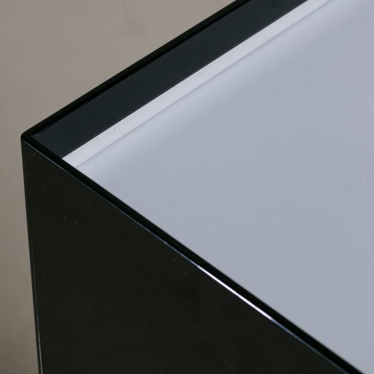 Oversized Black and Ivory Acrylic Lightbox Pedestal For Sale 1