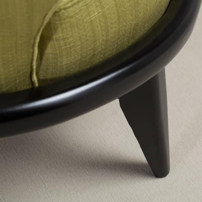 20th Century Single Ebonized Framed Upholstered Armchair For Sale