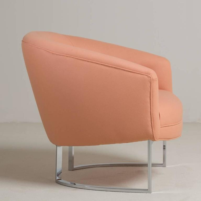 A single Milo Baughman designed chromium steel framed lambs wool upholstered armchair, 1970s. Fully reupholstered by Talisman.  Milo Baughman Design Inc was established in 1947. In 1948 he helped create the California Modern collection for Glenn of