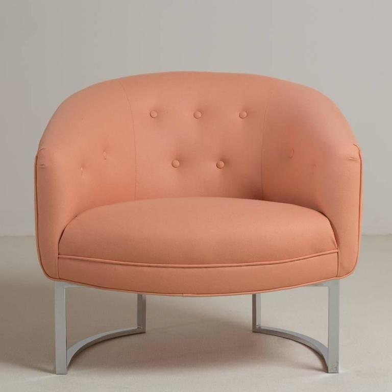 Milo Baughman Chromium Steel Framed Armchair, 1970s In Excellent Condition For Sale In London, GB