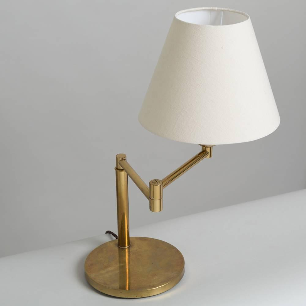 pair of brass swing arm desk lamps koch and lowy 1970s at 1stdibs. Black Bedroom Furniture Sets. Home Design Ideas