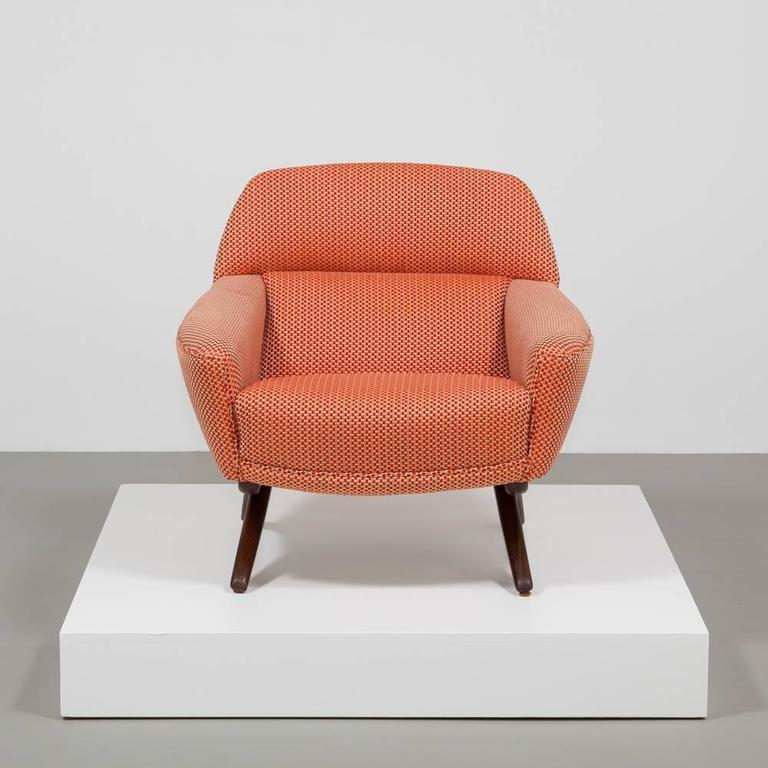 1950s Lounge Armchairs Re Upholstered In Multicolored: Danish Leif Hansen Attributed Upholstered Armchair, 1950s