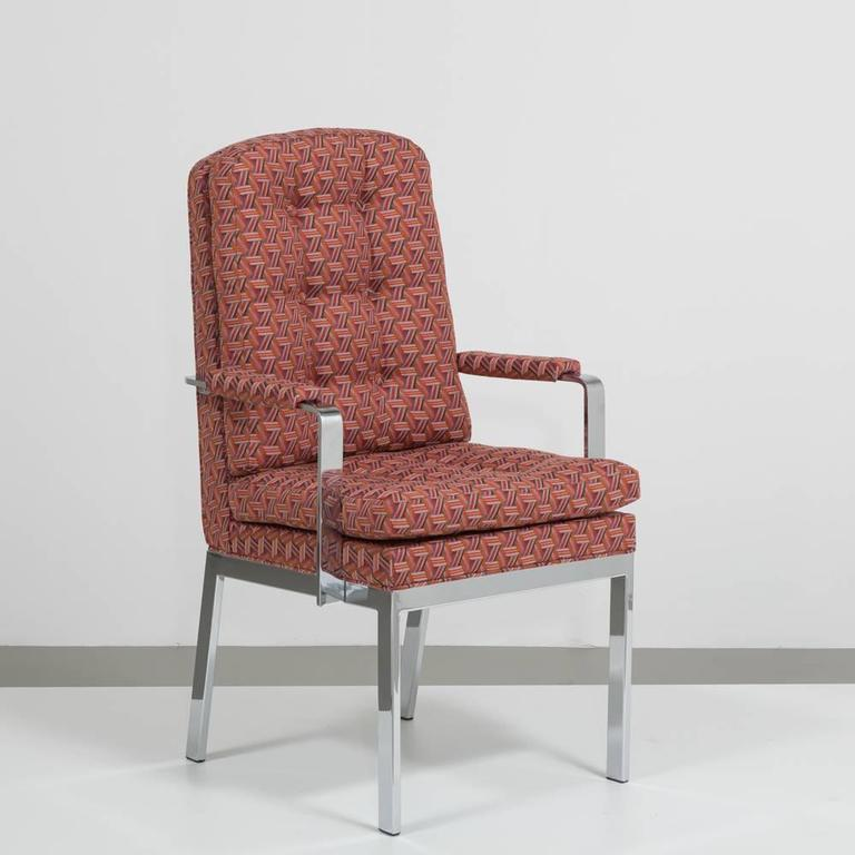 Late 20th Century Pair of Milo Baughman Designed Nickel Framed Carver Chairs For Sale