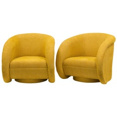 A Pair of Large Swivel Armchairs 1990s to be Upholstered in COM