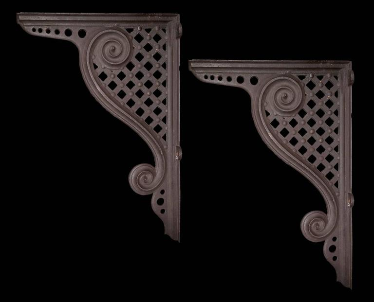 Pair Cast Iron Brackets For Sale at 1stdibs