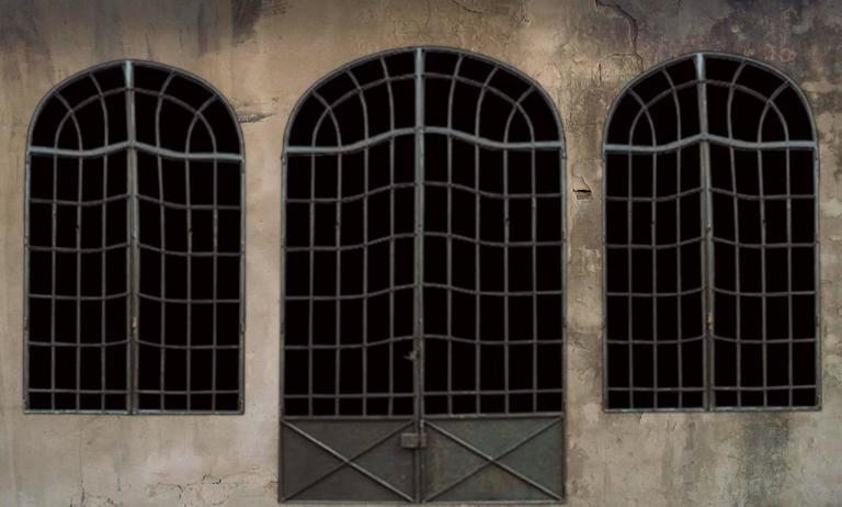Set of late 19th century French handmade multi-light iron windows and doors. This unique set of windows and doors came from a 19th century stone house in the south of France. The windows were constructed approximately three feet off of the ground so