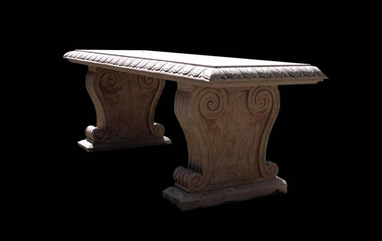 """ROSSO VERONA MARBLE BENCH<br /> Rosso Verona marble Neo-Classical style Italian bench with egg and dart molding and scroll bracket supports, two available, priced per item. Height: 22.5"""" Length 62.5"""" Depth 22.5"""""""