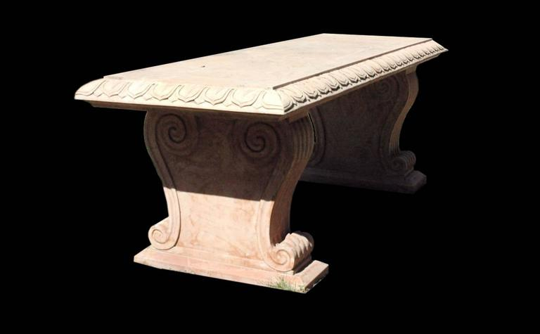 Rosso Verona Marble Bench In Good Condition For Sale In New York, NY