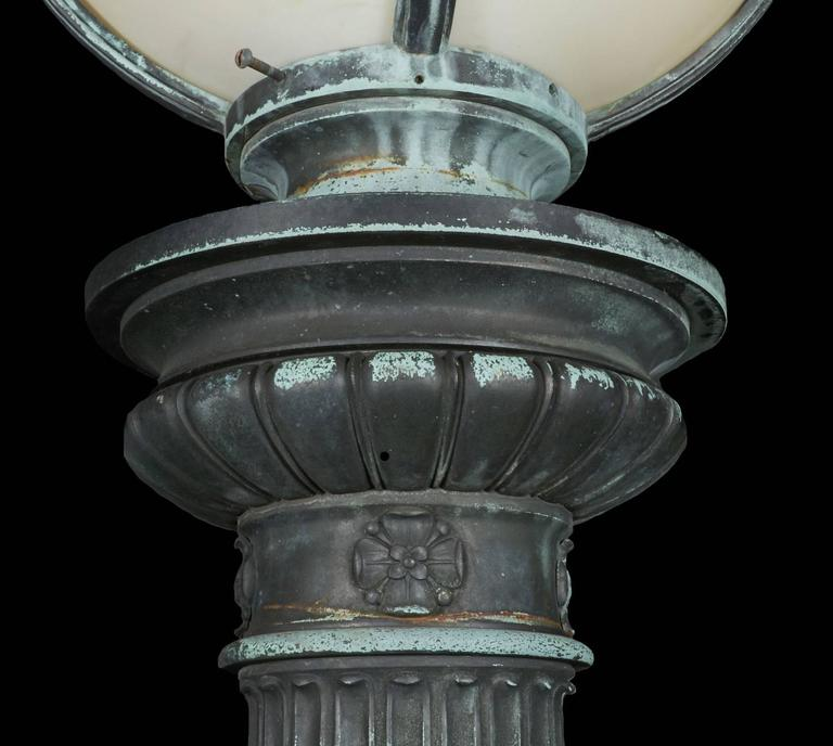 20th Century Pair of Cast Bronze Entry Lamps For Sale