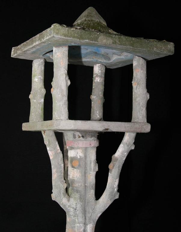 French Faux Bois birdhouse or feeder. Comes with a beautiful aged patina with lichen and moss.