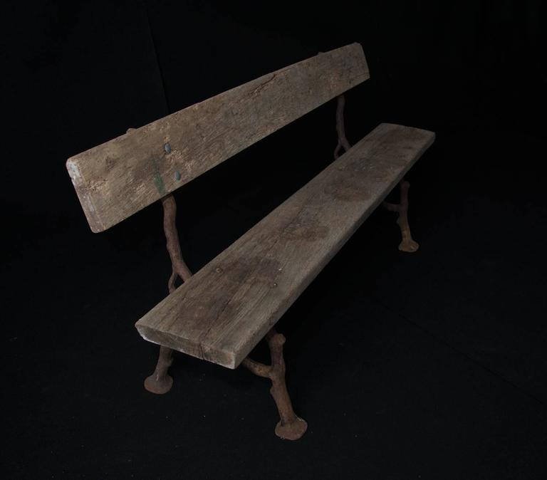 Genial Unique Late 19th Century French Garden Bench With Unusual Faux Bois  Cast Iron Legs And