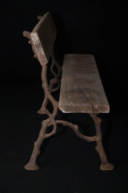 French Antique Garden Bench with Faux Bois Cast-Iron Legs For Sale