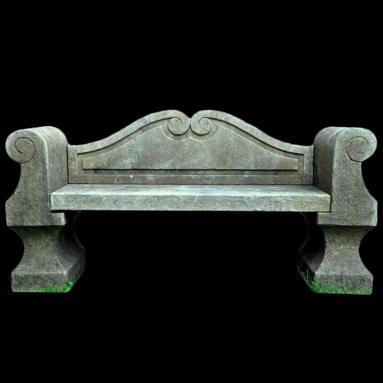 Italian 20th Century Limestone Bench with Back 2