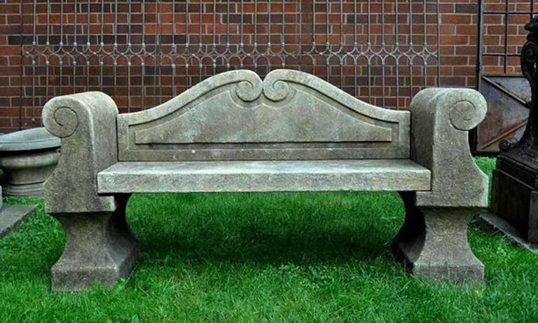 Italian 20th Century Limestone Bench with Back 4