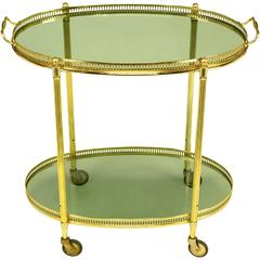 Pierced and Reeded Brass Two-Tier Oval Tray-Top Bar Cart