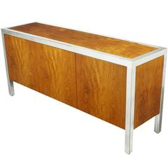 Pace Collection Koa Wood and Polished Steel Cabinet