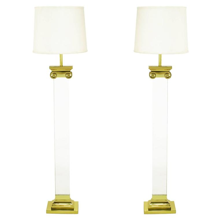 Pair Lucite and Brass Neoclassical Ionic Column Floor Lamps