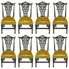 Eight Chinese Chippendale Ebonized Mahogany Dining Chairs with Leather Seats