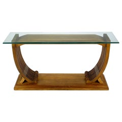 Studio Crafted Teak and Glass Shipwright Console Table