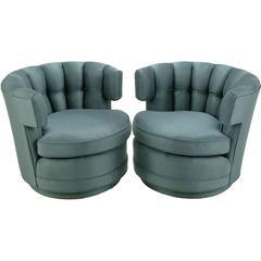 Pair of Cadet-Blue Wool Felt Button-Tufted Swivel Barrel Chairs