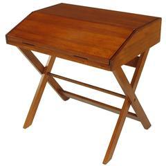 Sorrel Ash-Flip Top Trestle Based Writing Table