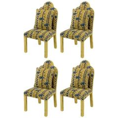 Four Art Deco Revival Fully Upholstered Dining Chairs