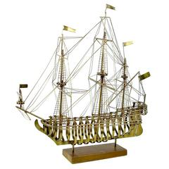 Tall Brass Sculptural Sailing Ship in the Manner of C. Jere