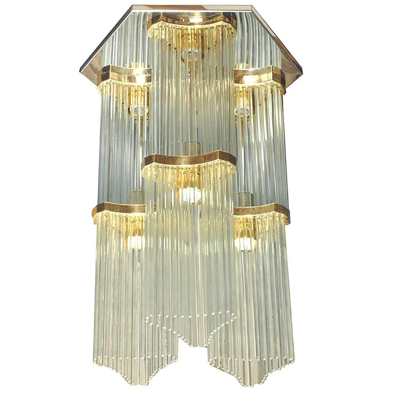 Gaetano Sciolari for Lightolier Two-Tiered Glass Rod and Brass Chandelier
