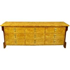 Mastercraft Burl and Walnut Dresser with Substantial Brass Pulls