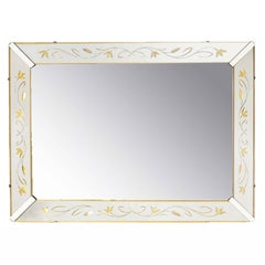 Etched and Reverse Gilt Mirrored Frame Art Deco Mirror with Foliate Detail