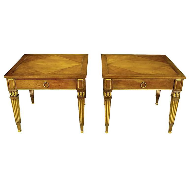 Pair of Louis XVI Style Parcel-Gilt End Tables by Baker For Sale