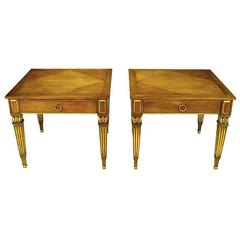 Pair of Louis XVI Style Parcel-Gilt End Tables by Baker