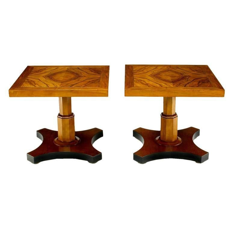 Pair of Baker Furniture 1950s Highly Figured Bookmatched Walnut Side Table For Sale