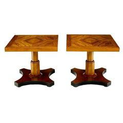 Pair of Baker Furniture 1950s Highly Figured Bookmatched Walnut Side Table