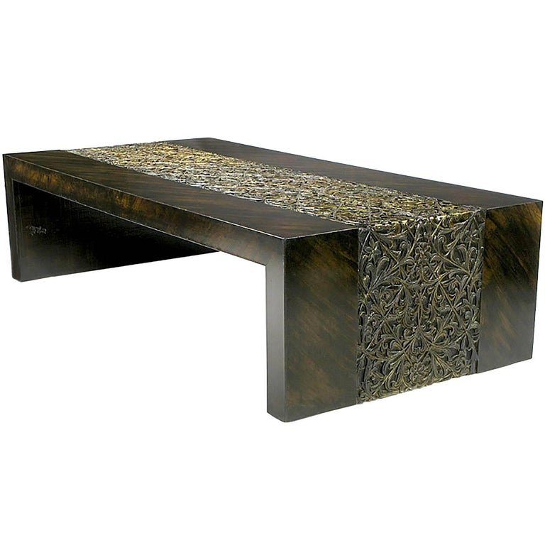 Phyllis Morris Hand Painted Zebrano Wood and Gilt Arabesque Coffee Table For Sale